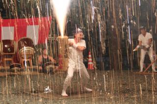 和地の村祭りでの手筒花火