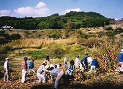 荒廃した棚田は地域の皆さんの他ボランティアが参画し復田が行われました(平成11年)
